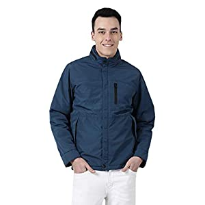 Monte Carlo Blue Solid Cotton Polo Collar Jacket