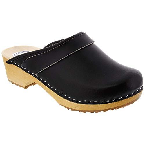 Bjork Maja Wood Open Back Leather Clogs (EU-38, Black) ()