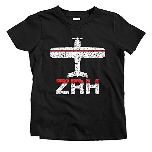 (Smash Transit Kids Fly Zurich ZRH Airport T-Shirt - Black, Toddler)