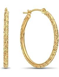 14k Gold Hand Engraved Diamond-cut Round Hoop Earrings -1'' Diameter (yellow-gold)