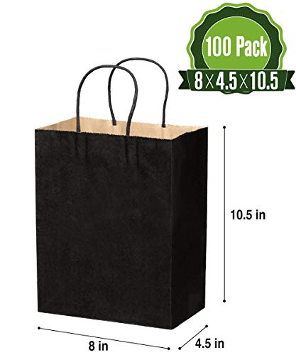 Black Kraft Paper Gift Bags Bulk with Handles 8 X 4.5 X 10.5 [100Pcs]. Ideal for Shopping, Packaging, Retail, Party, Craft, Gifts, Wedding, Recycled, Business, Goody and Merchandise Bag -