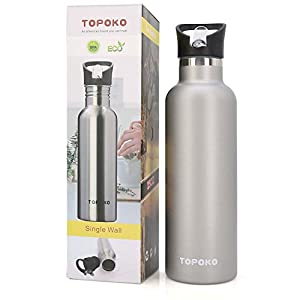 TOPOKO 25 Ounce Flip Top Spout Straw Lid Double Wall Stainless Steel Water Bottle Vacuum Insulated Bottle, Leak Proof BPA free (25 OZ, Grey)