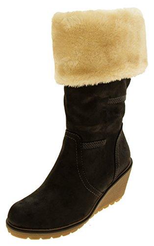 Faux botas de cuña del cuero del becerro de las mujeres S.oliver Negro
