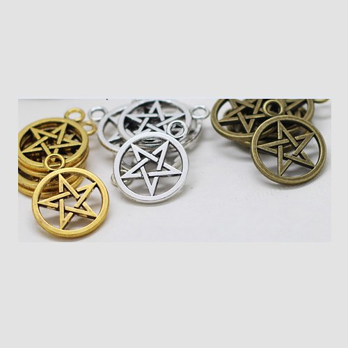 [Vintage Metal Alloy Pentagram Charms Three Color Jewelry Pendant Charms Findings !! (30pcs/lot)] (Vintage Costume Jewelry Lot)