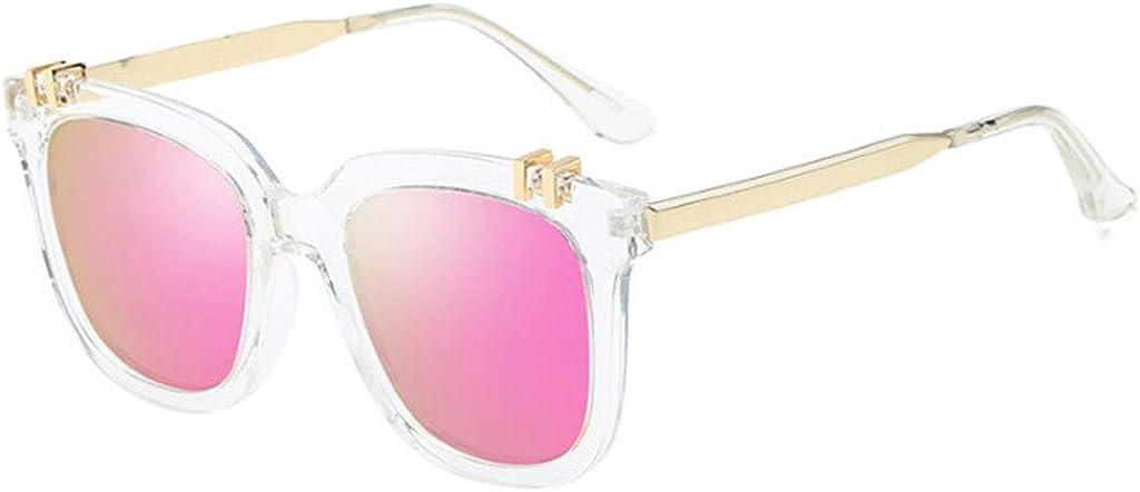 waotier Gafas de sol frescas Gafas de sol unisex de colores polarizados con película de color Marco de metal Protección UV Rosa Púrpura