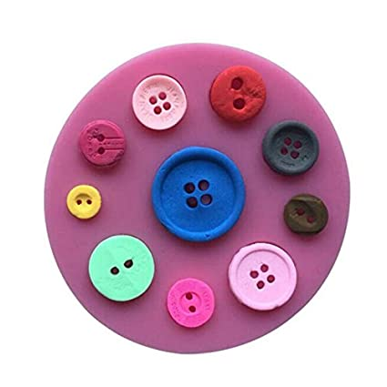 iTemer Moldes para Reposteria Jabones Bizcochos Chocolate Tartas Pastel Hornear Botón Rosa Fondant Silicona 1 pieza