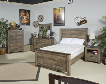 Signature Design by Ashley B446-86 Trinell Rustic Panel Rails, Full - Ashley Furniture Bed