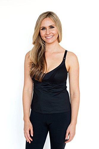 Simple Wishes Everyday All-In-One Nursing Top - Maternity Wear Tank Top, Patent Pending, M, F-H Cup (Black)
