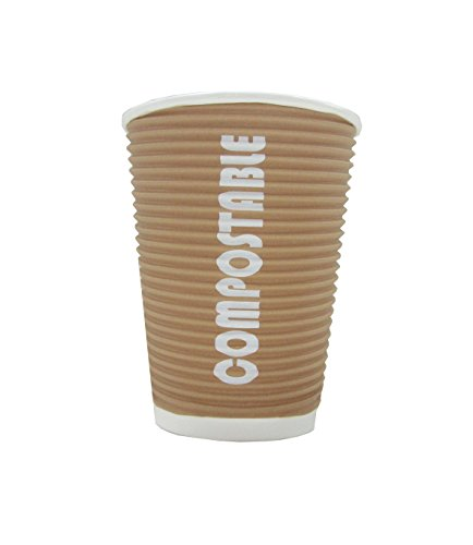 Reables Ripple Grip 8 Oz Compostable Hot/cold Cup, 1000 Cups - Eco-friendly