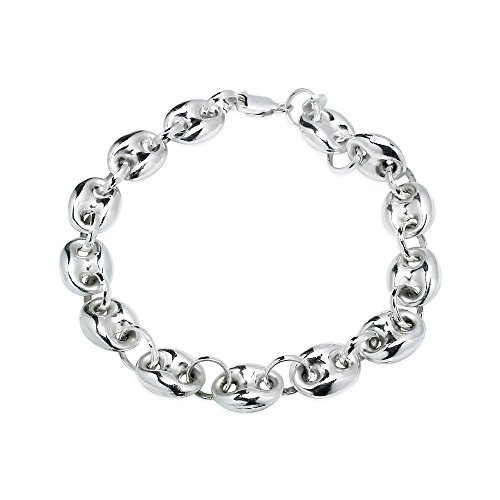 Sterling Silver High Polished Puffed Anchor Mariner Chain Bracelet, 7 Inches by Hoops & Loops