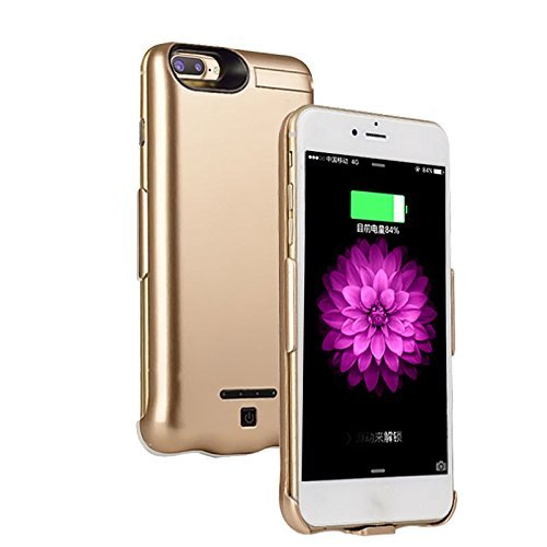 Iphone 8 Plus/7 Plus Battery Case Ultra Extended Backup Charger Power bank cover for iphone 8 Plus/7 plus 10000mAh (Gold)