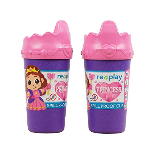 Re Play Toddler Feeding 2pk Specialty No Spill Sippy Cups - 10 oz. (Princess Crown, Amethyst)
