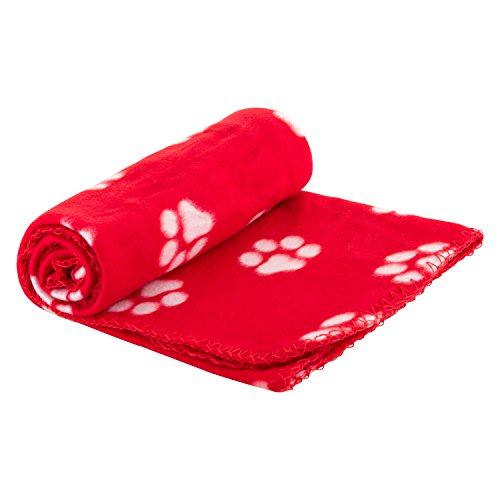 - Pet Blanket for Dog Cat Animal 39 x 27 Inches Fleece Black Paw Print All Year Round Puppy Kitten Bed Warm Sleep Mat Fabric Indoors Outdoors (Red)