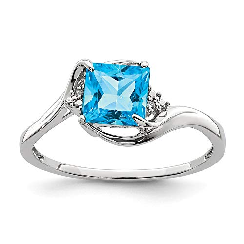 925 Sterling Silver Diamond London Blue Topaz Band Ring Size 7.00 Gemstone Fine Jewelry Gifts For Women For Her