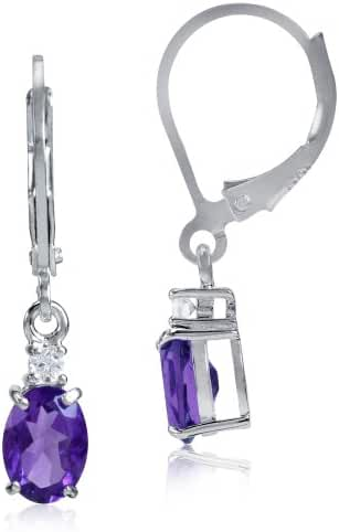 1.48ct. Natural African Amethyst & White Topaz 925 Sterling Silver Leverback Earrings