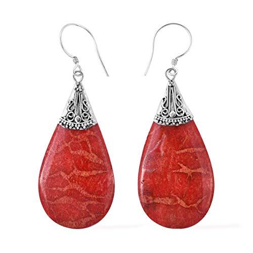 (Dangle Drop Earrings 925 Sterling Silver Sponge Coral Jewelry for)