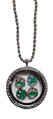Fancy Turtle Charm (TEENAGE MUTANT NINJA TURTLE Themed Round Crystal FLOATING CHARM LOCKET)