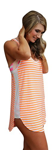 Racerback Swimsuit Cover Up Beachwear Dress (Small, Orange Stripe)
