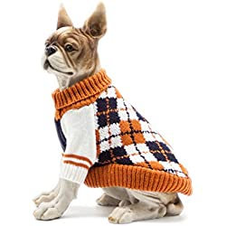 Scheppend Dog Sweater Pet Cat Festive Winter Knitwear Warm Clothes Diamond Plaid Turtleneck Sweaters Puppy Soft Sweatshirt for Small Medium Dogs, Large Orange