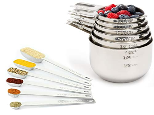 (Measuring Cups and Spoons Set by Simple Gourmet. Stainless Steel Measuring Cups and Measuring Spoons Stainless Steel Set of 12. Liquid Measuring Cup or Dry Measuring Cup Set. Stainless Measuring Cups)