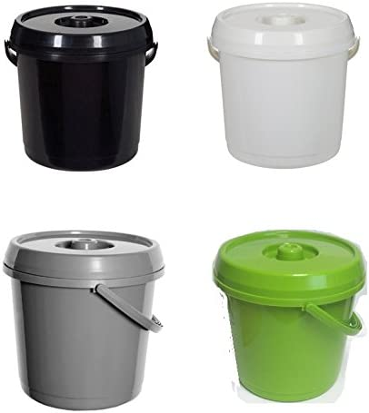 Silver Whitefurze H07032 Plastic Bucket with Lid 14 Litre