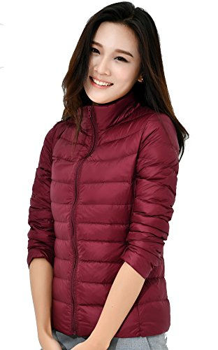 Red Women Down Jacket Light Coat Short Zinsale Packable Wine Puffer Weight BZvnP
