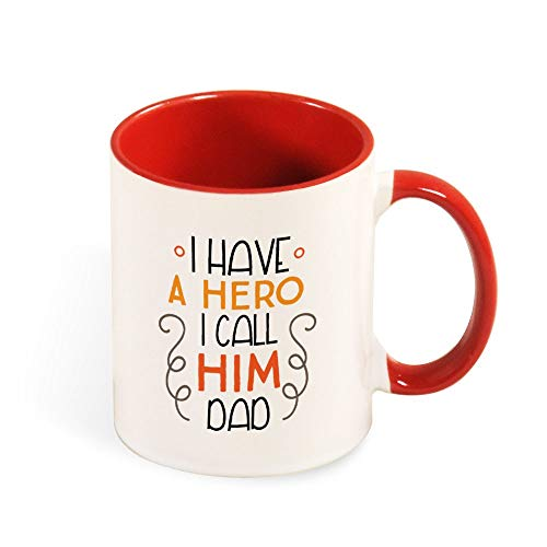 DKISEE Colorful I Have A Hero I Call Him Dad Coffee Mug Novelty 11oz Ceramic Mug Cup Birthday Christmas Anniversary Gag Gifts Idea - Black - Red