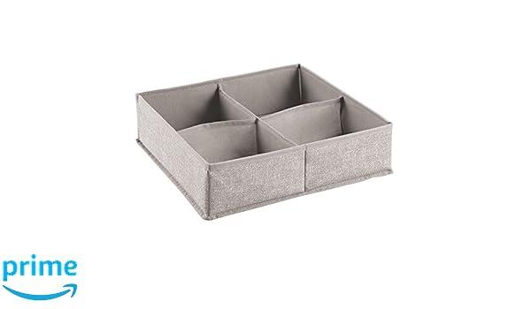 InterDesign Aldo Organizador de cajones, Caja de almacenaje Grande de Polipropileno con 4 Compartimentos, Cajas clasificadoras, Beige: Amazon.es: Hogar