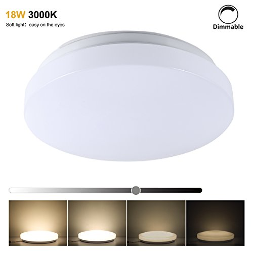 S&G LED Ceiling Lights Dimmale 3000K 18W Equal 200W Incandescent Light 60W CFL, LED Ceiling Light Fixtures, 14.56 Inch, Budget-Firendly