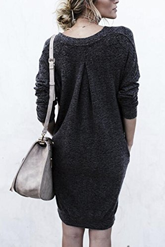Mini Noir Hiver Robes V Casual Tunique Manche Femme Robe Yidarton Longue Col Pull qHzx7