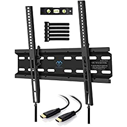Tilting TV Wall Mount Bracket Low Profile for Most 23-55 Inch LED, LCD, OLED, Plasma Flat Screen TVs with VESA up to 88lbs 400x400mm - Bonus HDMI Cable, Bubble Level and Cable Ties by PERLESMITH