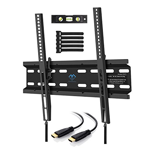 Tilting TV Wall Mount Bracket Low Profile for Most 23-55 Inch LED, LCD, OLED, Plasma Flat Screen TVs with VESA up to 88lbs 400x400mm - Bonus HDMI Cable, Bubble Level and Cable Ties by PERLESMITH (32 In Screen Flat)