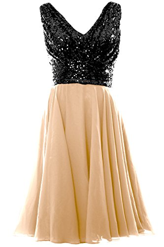 0a9265784bd MACloth Women V Neck Sequin Chiffon Short Wedding Party Bridesmaid Dress  Gown