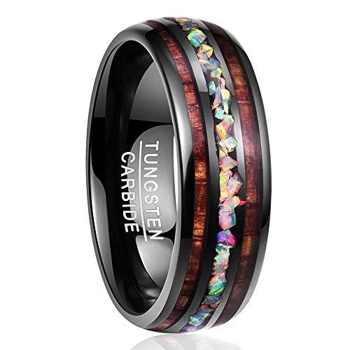 - NUNCAD Fire Opal Black Tungsten Wedding Ring Band Hawaiian Koa Wood Comfort Fit Size 6.5