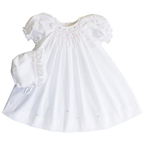 Petit Ami Daydress with Raglan Sleeves and Embroidery at Hem in White Newborn