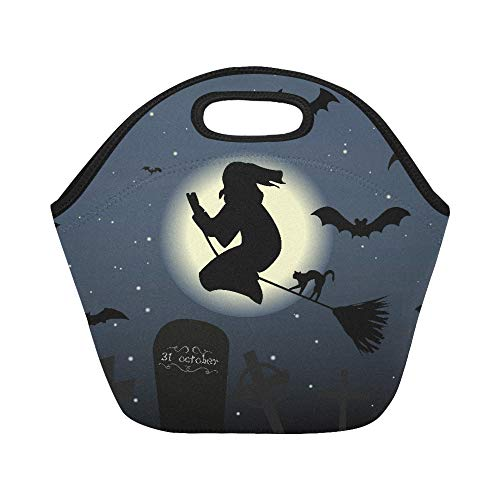 Insulated Neoprene Lunch Bag Happy Halloween Cat Magic Witch Night Moon Large Size Reusable Thermal Thick Lunch Tote Bags For Lunch Boxes For Outdoors,work, Office, -
