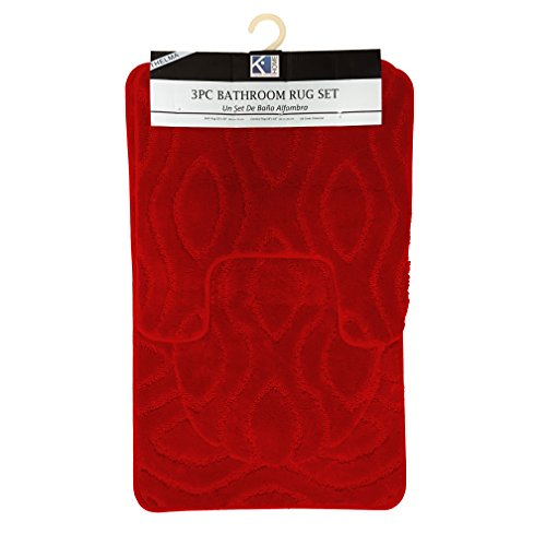 (Thelma 3 Piece High Pile Ribbed Bathroom Rug Set, Bath Rug, Contour Rug, Lid Cover (Red))