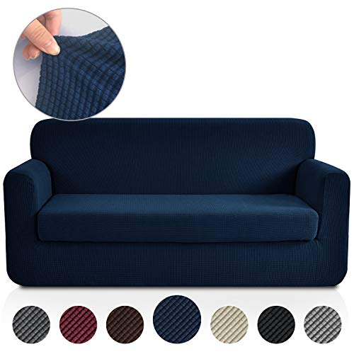 Rose Home Fashion Jacquard Stretch 2 Separate Pieces Sofa Cover, Sofa Slipcover with Separate Cushion Cover Couch-Polyester Spandex Sofa Slipcover&Couch Cover for Dogs(Sofa: Navy) (Leather Furniture Navy)