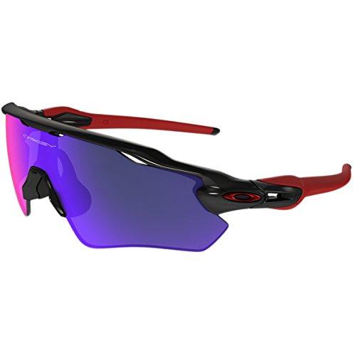 Oakley Men's Radar Ev Path Non-Polarized Iridium Rectangular Sunglasses, Polished Black, 38.01 - Iridium Red Oo Polarized