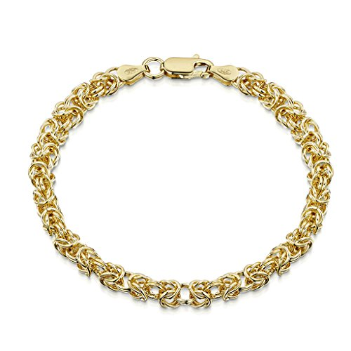 18K Gold Plated on 925 Sterling Silver 4.7 mm Byzantine Chain Bracelet Length 7.5