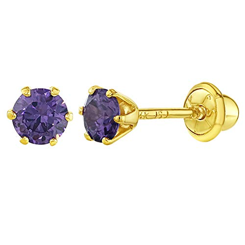 14k Yellow Gold Screw Back Earrings Solitaire Round Purple Cubic Zirconia for Baby Girl 4mm ()
