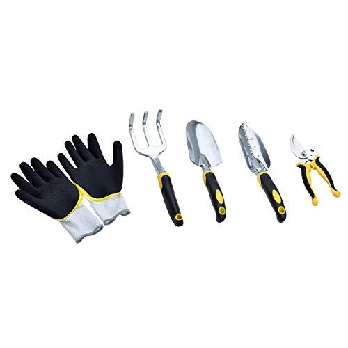 MeiJia 5 Piece Aluminum Hand Garden Tool Set,Tool Kit,Including Transplanting Spade, Trowel, Cultivator, Pruner and…