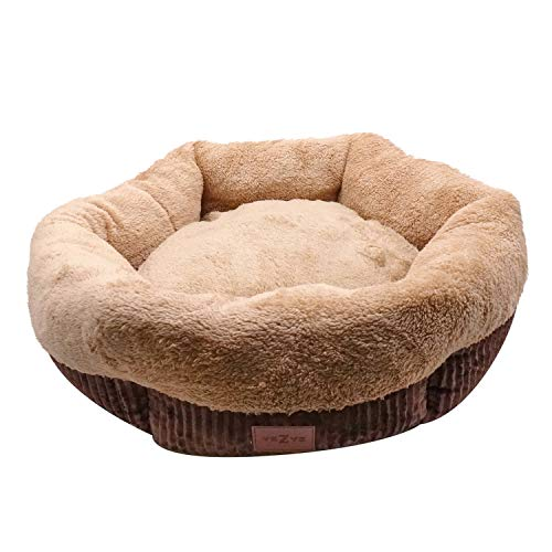 veZve Round Warming Dog Sleeping Indoor Bed Red Donut with Skin Contact Safe Reversible Memory Foam Washable Firmness