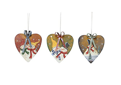 Snowman Hand Painted Ornaments - Set of 3 Rustic Primitive Metal Hand Painted Snowman Christmas HangingHeart Ornaments