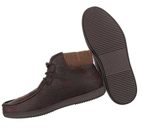 Herren Boots Schuhe High-top Schwarz Braun