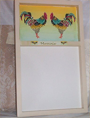 Memo Board Rooster Pastel country Home Handcrafted Wood Message erasable Marker ()