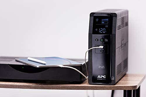 APC UPS, 1500VA Sine Wave UPS Battery Backup & Surge Protector, BR1500MS2, Backup Battery with AVR, (2) USB Charger Ports, Back-UPS Pro Uninterruptible Power Supply