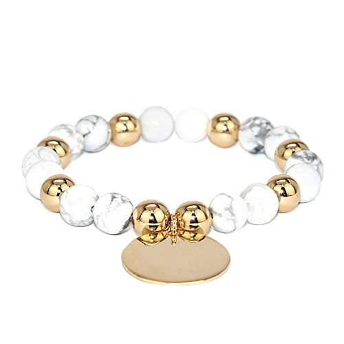 (POMINA 8mm Natural Stone Beaded with Disc Coin Charm Stretch Bracelets (Howlite))
