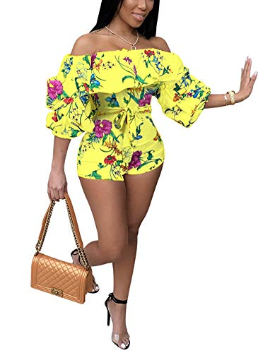 (Deloreva Women Sexy One Piece Romper Outfits Pull Sleeve Floral Print Off Shoulder Short Jumpsuit Pants Set Yellow S)