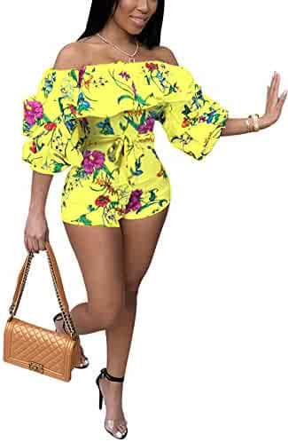 58fe06396e8 Deloreva Women Sexy One Piece Romper Outfits Pull Sleeve Floral Print Off  Shoulder Short Jumpsuit Pants
